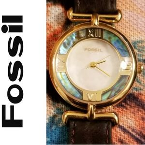 Rare Vintage Mother of Pearl Fossil Watch